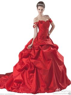 FairOnly Red Backless Wedding Dresses Bridal Ball Gown Custom Made Size