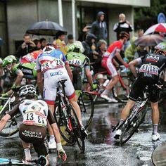 pedalitout:  Rough conditions bring carnage. #tdf2015 Photo by Yuzuru Sunada for @pelotonmagazine Credit pelotonmagazine via http://ift.tt/1HFt2vH
