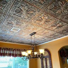 Styrofoam Ceiling Tiles cover popcorn ceiling. Easy DIY | Etsy Styrofoam Ceiling Tiles, Faux Tin Ceiling Tiles, Tin Tiles, Pole Barn House Plans, Pole Barn Homes, Antique Copper, Or Antique, Covering Popcorn Ceiling, Tile Edge
