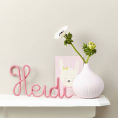 Personalised Name Sign Knitted And Wire Pink