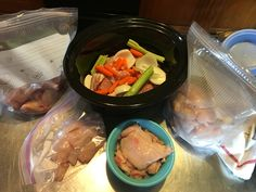 Processed 4 of the 6 Californian grow outs this past weekend. Rabbit meat:  •Thighs/back legs in 1 freezer bag •'Wings' front legs in another •Loin and saddle sections in 1 bag (marinating in the fridge) •Belly flaps and little scraps in a bowl to dehydrate for jerky treats for the dogs. *may experiment with some recipe to make jerky for us as well •Crockpot: the spine section, onion, carrots, celery, rosemary from the garden, bay leaf, and water to cook for about 10-12 hours for a nice…