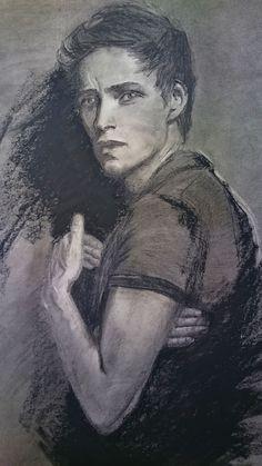portrait drawing Eddie Redmayne charcoal penci