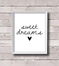 Sweet dreams Black and white printable quotes Modern bedroom wall art Scandinavian kids room print Minimalist inspirational art