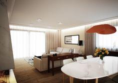 Wystrój wnętrz klimatycznego salonu z jadalnią - Tissu. Jadalnia wykończona drewnem i marmurem. Wnętrze ożywiają designerskie lampy w kontrastowych kolorach. http://www.tissu.com.pl/zdjecia/419