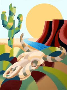 Daily Painters Abstract Gallery: Mark Webster - Abstract Futurist Soutwestern Desert Landscape Oil Painting