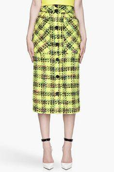 ROKSANDA ILINCIC Chartreuse soft tweed Estes Skirt