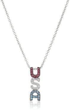 Platinum Plated Sterling Silver Swarovski Zirconia 'USA' Pendant Necklace, 16' 2' Extender * Click on the image for additional details.
