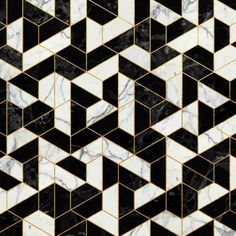 [ geometric black, white, and gold tiles ]