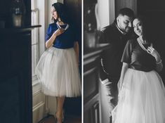 Marleen and George stand by a window during their Princeton Engagement Session with NJ Wedding Photographer Ben Lau.