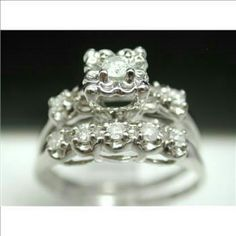 NWOT 10k WG wedding ring set .50 ctw ~~$1950 ANTIQUE DESIGN 10K WHITE GOLD 0.50CTW GENUINE DIAMOND BRIDAL ENGAGEMENT or other use  ~~Ring Size 6.5- 6.75.     ~~Ring weight 3.5 Grams ~~Material:10k White Gold, 0.50ctw Diamond I1-I2 I-J  ~~My Ref: prheart.      ***Will consider offers. Please no low balling or                             asking to separate.*** Jewelry