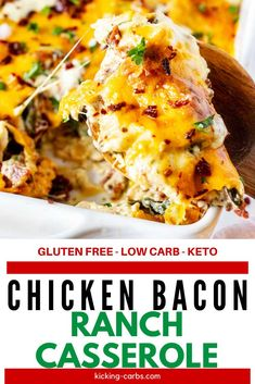 This Keto Chicken Bacon Ranch Casserole with Spinach and Cream Cheese is easily my favorite casserole that I've ever made. It is so rich, creamy, and cheesy. Make this easy low carb recipe for your ne Low Carb Keto, Low Carb Recipes, Diet Recipes, Chicken Recipes, Healthy Recipes, Easy Recipes, Diet Meals, Vegetarian Recipes, Chicken Bacon Ranch Casserole
