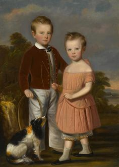 American School - second quarter 19th century - Portrait of two children and a dog in a landscape (The Livingston Children) - oil on canvas, 51 x 37in (129.5 x 93.9cm)