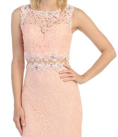 Two Piece Short Cocktail Prom Dress Formal Fitting Sexy Lace
