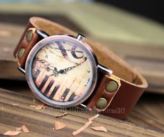 Piano patter wrist watch bracelet Brown Leather by eternalDIY, $11.99