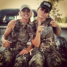 Best friends in casual camo hunting gear: The ultimate real, raw, country girls.