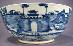 Chinese Export Porcelain Blue and White Punch Bowl, early C19th, poss of the princes' palace in Guilin