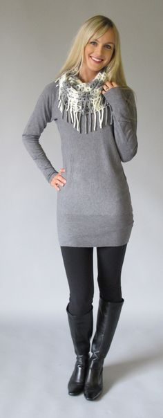 BELLA SWEATER TUNIC: grey or BLACK - TeaElla  LOVE this! And affordable!