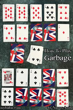 how to play garbage the card game. Great for playing with children when passing the time. how to play garbage the card game. Great for playing with children when passing the time. Family Card Games, Fun Card Games, Card Games For Kids, Playing Card Games, Party Games, Solo Card Games, Dice Games, Activity Games, Gym Games