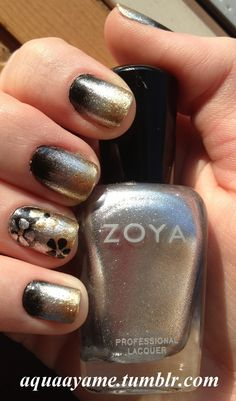 Black, Silver, Gold Ombre Nail Art