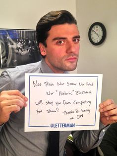 Super handsome Oscar Isaac on The Letterman Show            (Jan 27, 2015)