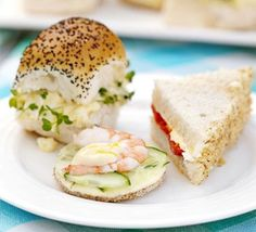 These recipes would be so nice for afternoon tea sandwiches. walnut and roasted pepper sandwiches. lemony cucumber and prawn sandwiches. and creamy egg and cress sandwiches. Mini Sandwiches, Finger Sandwiches, Delicious Sandwiches, Afternoon Tea Recipes, Afternoon Tea Parties, Bbc Good Food Recipes, Cooking Recipes, Gourmet, Snacks