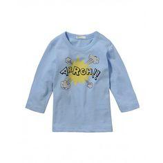 T-shirt manica lunga, con stampa, in jersey di cotone.3096MM114 AZZURRO