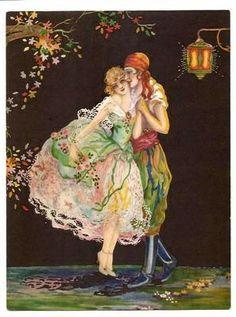 +art by marygold | ... Vintage Art Deco Fantasy Print of Man and Woman by Marygold or Tsanya