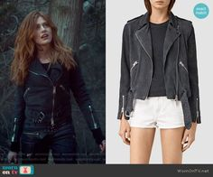 Braided Wyatt Suede Jacket by All Saints worn by Clary Fray (Katherine McNamara) on Shadowhunters Uni Outfits, Casual School Outfits, Crazy Outfits, Girl Outfits, Movie Outfits, Clary Fray Style, Clary Fray Outfit, Suede Moto Jacket, Leather Jacket