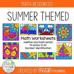 These math coloring sheets are perfect for addition and subtraction practice during those last weeks of the school year! You may be introducing new concepts, but you need your students to continue practicing addition and subtraction! This resource provide Fun Math Activities, Math Resources, Summer Activities, Classroom Resources, First Year Teachers, New Teachers, Kindergarten Lesson Plans, Kindergarten Activities, Addition And Subtraction Practice