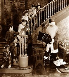 Merry Christmas! | The Silent Movie Blog. This suspiciously slender Santa leaves a radio for Our Gang. (Or is he taking it?)