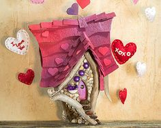 Bemione of the Val - a Valentine's Day Fairy House with vibrant hearts on a purple and red roof - Faeries in Love!