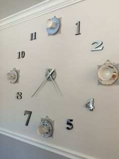 Tea time! Wall clock with tea cups. Tea cup wall clock.