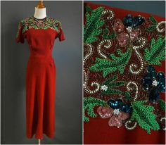 1940s wartime cocktail dress with incredible multicolored