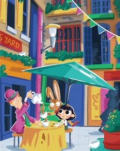 #illustration #childrenbook #childrenillustration #alice #aliceinwonderland #london #tea #teaparty #madhatter # #urban #city #characterdesign #marchhare #nealsyard Alice In Wonderland Illustrations, March Hare, Tea Party, Character Design, My Arts, Urban City, Children, Yard, London