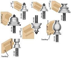 Inspired by Colonial Williamsburg Furniture of the and centuries, these 7 router bits are ideal for making period furniture molding, panel molding, waist moldings and more. Similar to actual moldings found in homes of this period, they would have Woodworking Router Bits, Diy Router, Woodworking Jig Plans, Router Jig, Router Woodworking, Woodworking Techniques, Woodworking Projects, Woodworking Machinery, Router Projects