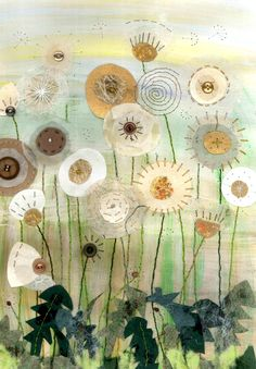 Dandylion clocks - Textile mixed media by Christine Pettet Art Free Motion Embroidery, Embroidery Art, Sewing Art, Sewing Crafts, Creative Textiles, Quilt Modernen, Fabric Pictures, Thread Painting, Silk Painting