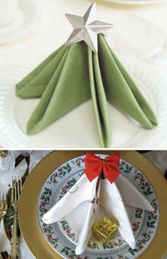 Super Delicate Napkin Ideas For Your Christmas Table Setting.- Super Delicate Napkin Ideas For Your Christmas Table Setting – Super Delicate Napkin Ideas For Your Christmas Table Setting – - Christmas Dining Table, Christmas Napkins, Christmas Table Settings, Holiday Tables, Kirstie's Homemade Christmas, Christmas Home, Christmas Ideas, Diy Place Settings, Handmade Christmas Decorations