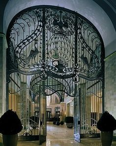 """"""" The Peacock gate of Gresham Palace in Budapest, Hungary. """""""