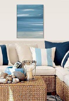 Blue seascape tropical canvas art painting