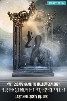 Escape game: Flukten gjennom det forheksede speilet Dette er et superspennende og morsomt escape game som man kan holde hjemme hos seg selv – eller hvor som helst! Deltakerne er fanget bak det forheksede speilet og er innesperret i det uhyggelige slottet til heksa Spellatrix. For å flykte må de komme fram til den magiske bankekoden! #escapegame #halloween
