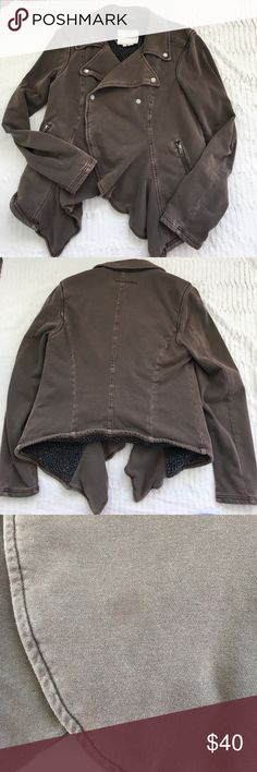 """Hei Hei cotton knit moto jacket in olive Snap closure, partially open (no zipper). Zip pockets, nice heavy cotton knit with nubby fleece lining. Small stain on front. Approximate measurements: 19"""" bust, 28"""" long (shoulder to longest point of front hem) Anthropologie Jackets & Coats"""