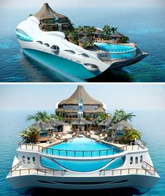 Luxury Overboard: Private Yacht as Tropical Island Paradise. . .So you already have your own private tropical island and giant-sized personal luxury yacht … how do you take things to the next level? Why, you combine the two into a portable slice of floating paradise, of course! Somewhere between crazy and kitsch, this monster of the sea features its own miniature volcano, flowing waterfall, mountain stream, and valley pool flanked by a series of small bamboo huts and shelter-providing palm…