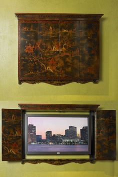 Maitland-Smith.  Hand Painted Black and Reddish Gold Chinoiserie Flat Screen TV Frame.  Item: 5130-465.  Dimensions: 52.0W x 8.0D x 39.0H inches.  Item Weight: 49.5 lbs.