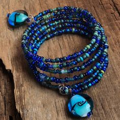 Beaded Wrap Bracelets, Memory Wire Bracelets, Layered Bracelets, Beaded Jewelry, Blue Tones, Turquoise Beads, Jewelry Ideas, Layering, Jewerly