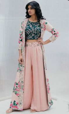 Buy Silk Printed Jacket Palazzo Set by Mrunalini Rao at Aza Fashions Party Wear Indian Dresses, Designer Party Wear Dresses, Indian Gowns Dresses, Indian Fashion Dresses, Kurti Designs Party Wear, Dress Indian Style, Indian Wedding Outfits, Indian Designer Outfits, Kurta Designs