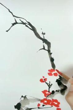 Watercolor Art Lessons, Watercolor Painting Techniques, Watercolor Paintings, Japanese Watercolor, Japanese Painting, Chinese Painting Flowers, Sumi E Painting, Tree Wall Painting, Ceramic Painting