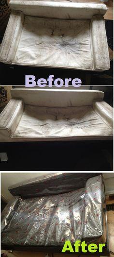 "nasty dog couch + cheap fabric + lady bug ""rain coat"" fabric +staple gun = pretty dog couch :D #diy"