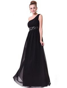 cf49951fd5f Ever Pretty Black One Shoulder Empire Line Sequins Padded Long Evening Gown  09770
