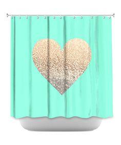 Another great find on #zulily! Gold & Mint Monika Strigel Gatsby Heart Shower Curtain by DiaNoche Designs #zulilyfinds
