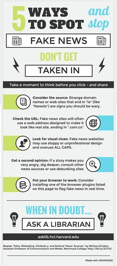 """5 Ways to Spot and Stop Fake News. Don't get taken in. Take a moment to think before you click - and share. Consider the source: Strange domain names or web sites that end in """"lo"""" (like """"Newslo"""") are signs you should be wary. Check the URL: Fake news sites will often use a web address designed to make it look like real site, ending in """".com.co"""" Look for visual clues: Fake news websites may use sloppy or unprofessional design and overuse ALL CAPS. Get a second opinion: If a story makes you…"""